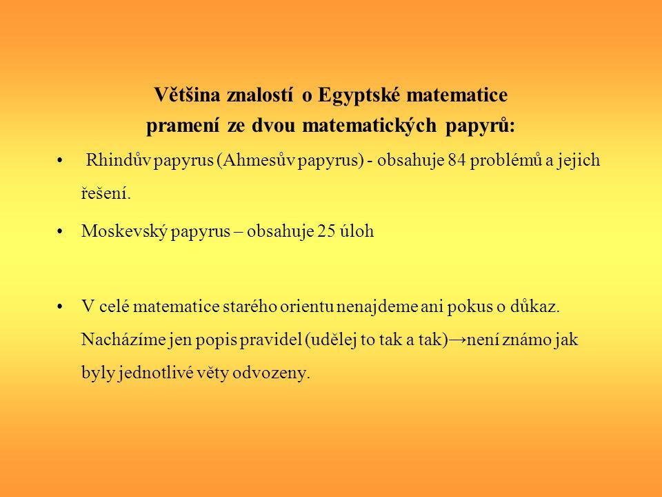 Většina znalostí o Egyptské matematice