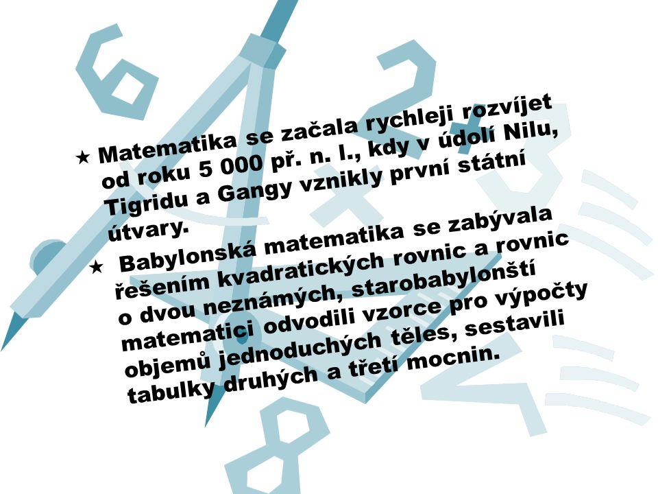 Matematika se začala rychleji rozvíjet od roku 5 000 př. n. l