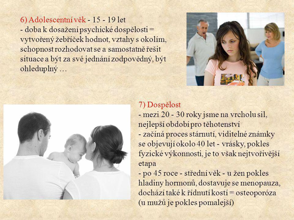 6) Adolescentní věk - 15 - 19 let