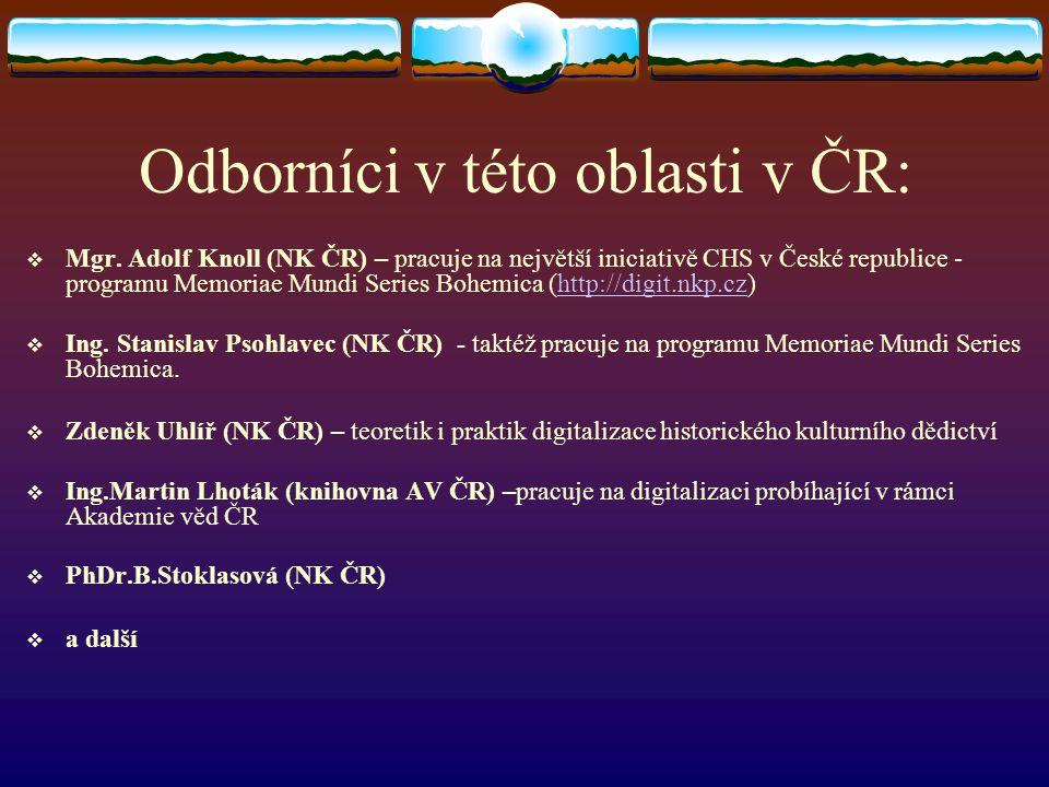 Odborníci v této oblasti v ČR: