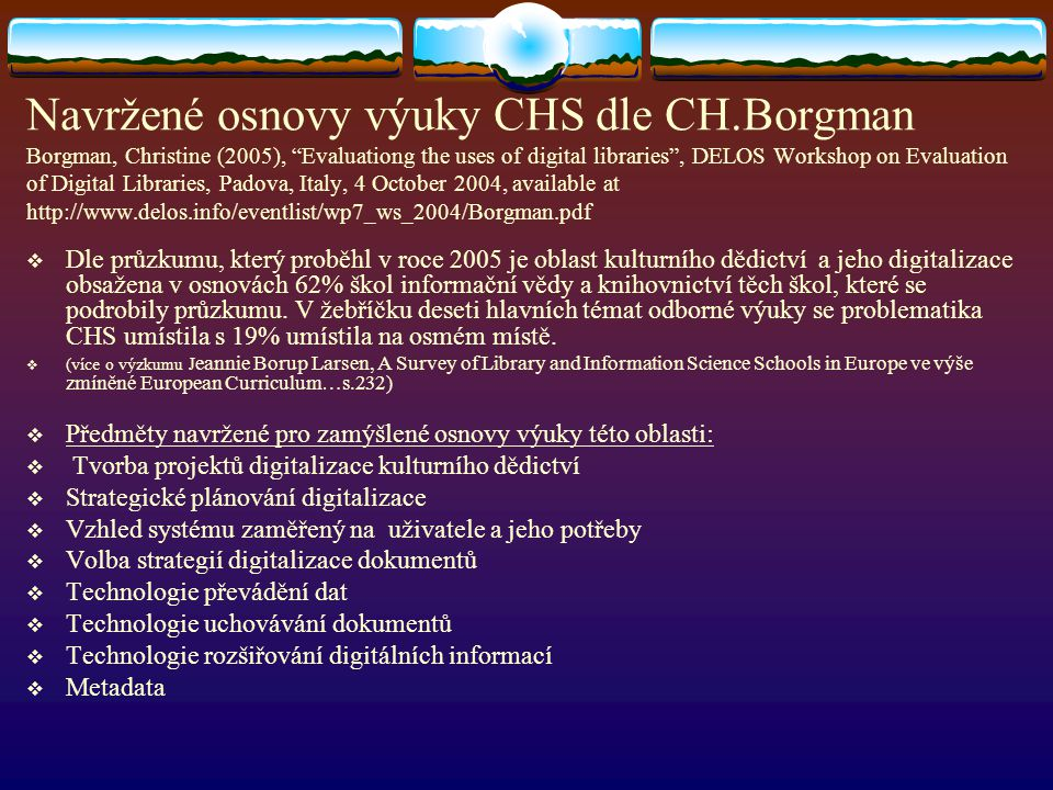Navržené osnovy výuky CHS dle CH