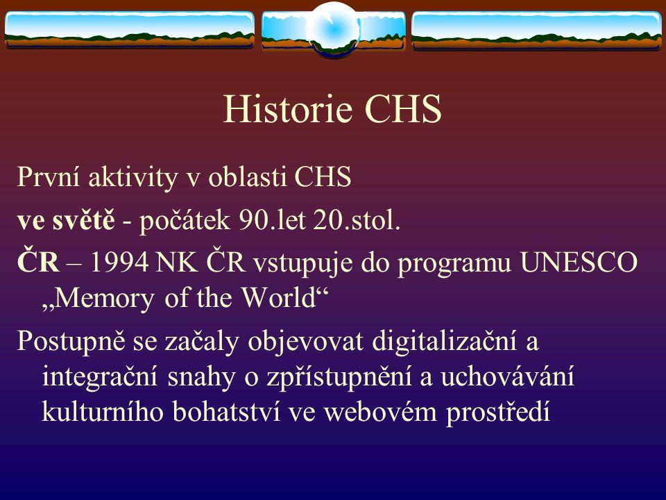 Historie CHS První aktivity v oblasti CHS