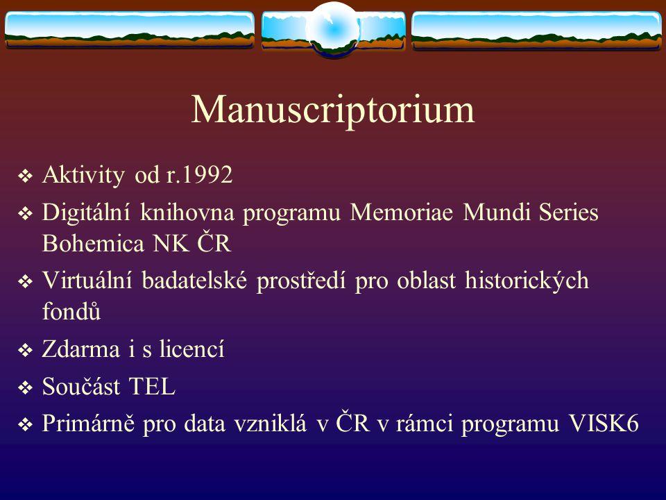 Manuscriptorium Aktivity od r.1992