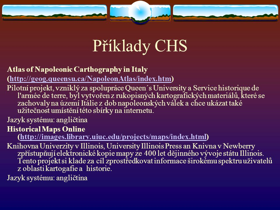 Příklady CHS Atlas of Napoleonic Carthography in Italy