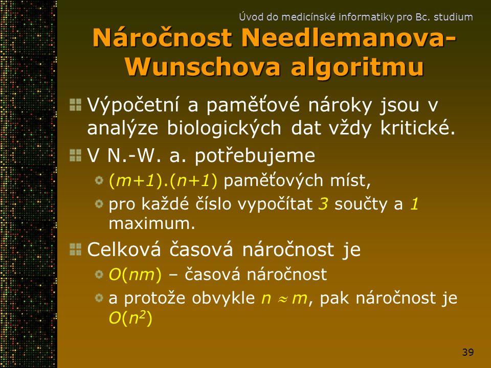 Náročnost Needlemanova-Wunschova algoritmu