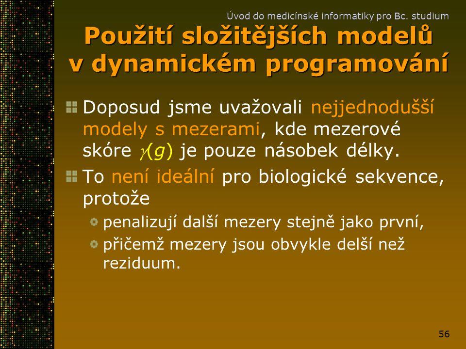 Použití složitějších modelů v dynamickém programování