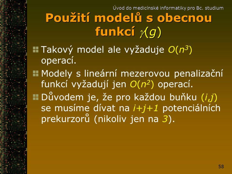 Použití modelů s obecnou funkcí g(g)
