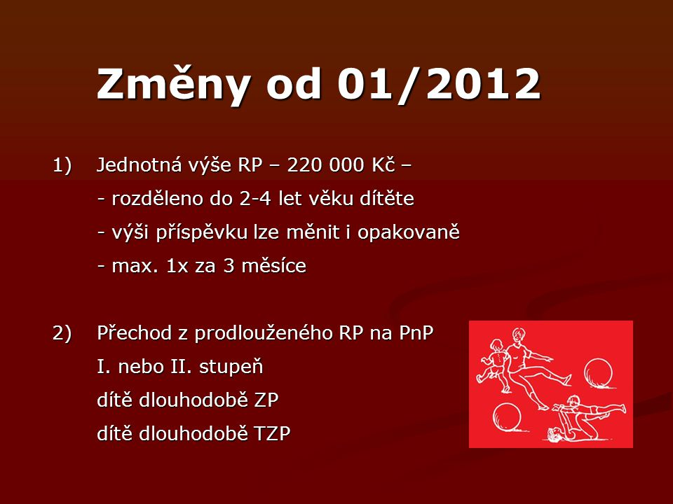 Změny od 01/2012 1) Jednotná výše RP – 220 000 Kč –