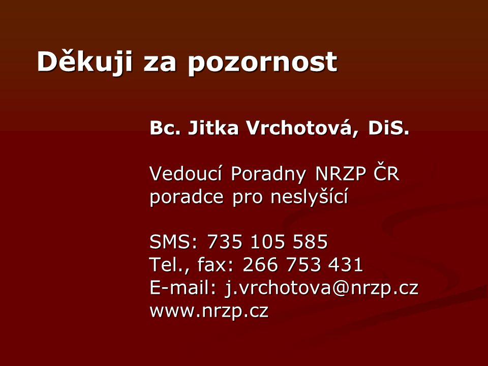 Děkuji za pozornost Bc. Jitka Vrchotová, DiS. Vedoucí Poradny NRZP ČR