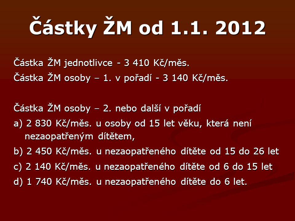 Částky ŽM od 1.1. 2012 Částka ŽM jednotlivce - 3 410 Kč/měs.