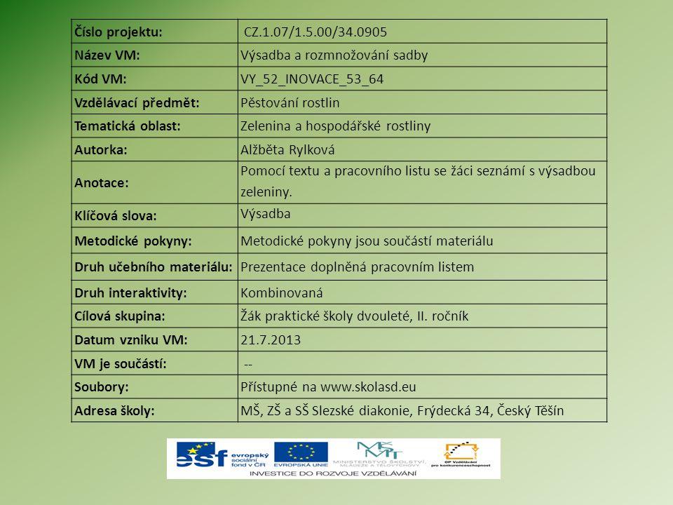 Číslo projektu: CZ.1.07/1.5.00/34.0905. Název VM: Výsadba a rozmnožování sadby. Kód VM: VY_52_INOVACE_53_64.