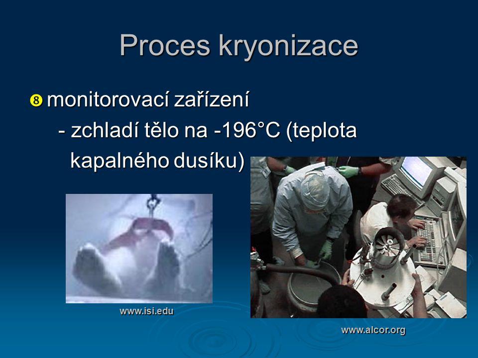 Proces kryonizace monitorovací zařízení