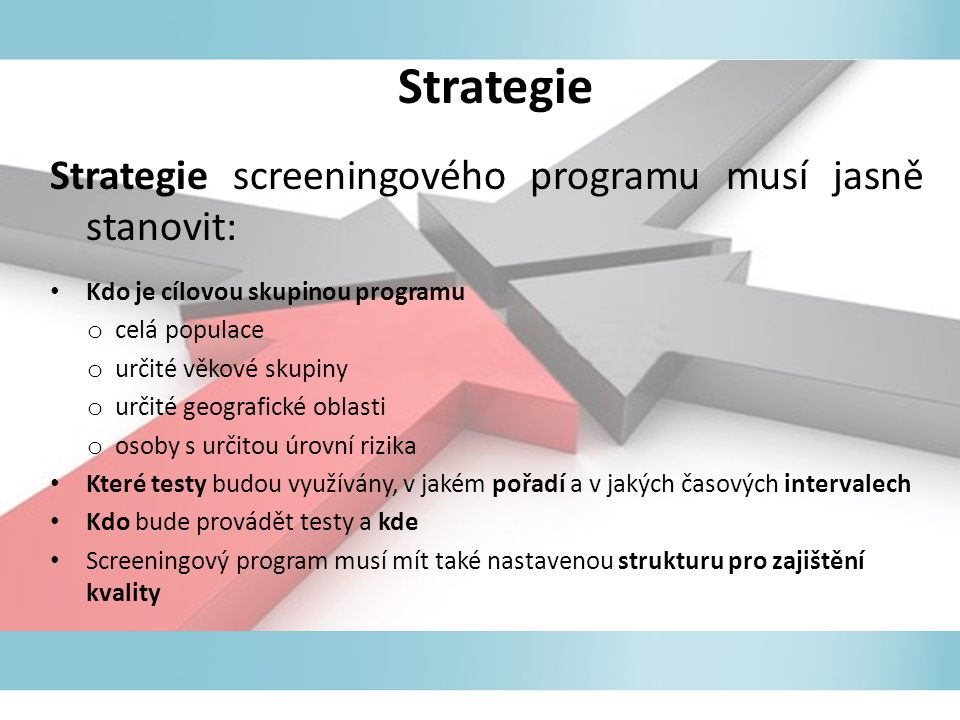 Strategie Strategie screeningového programu musí jasně stanovit: