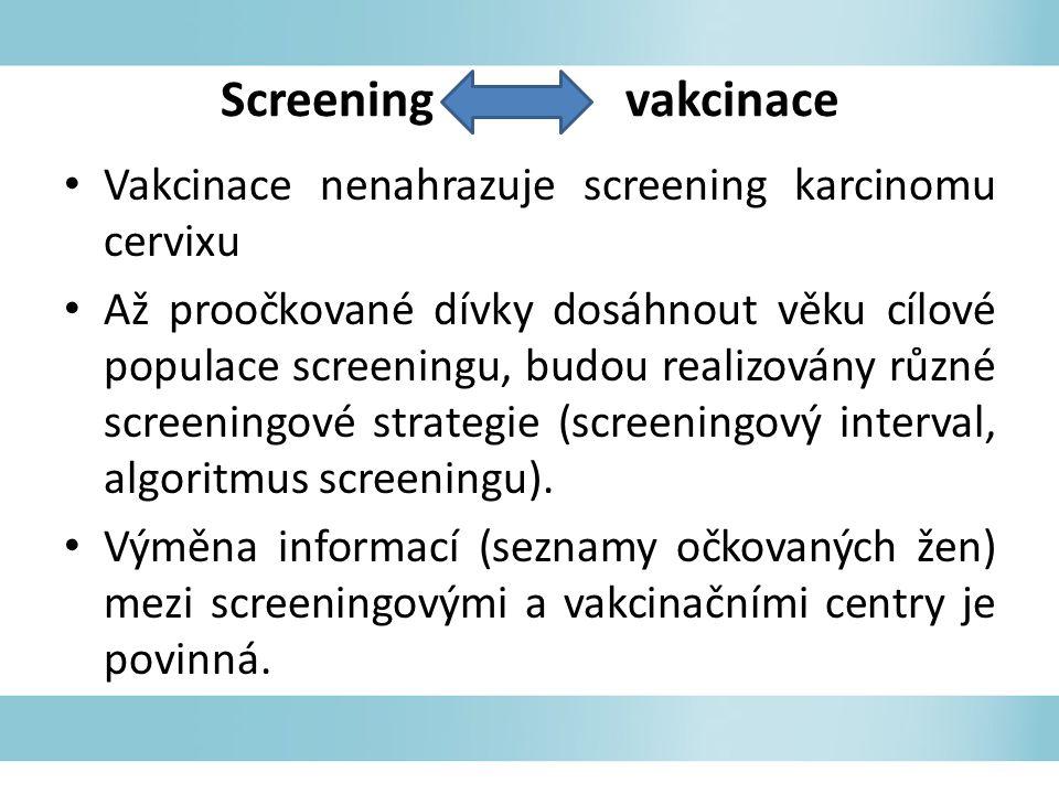 Screening vakcinace Vakcinace nenahrazuje screening karcinomu cervixu