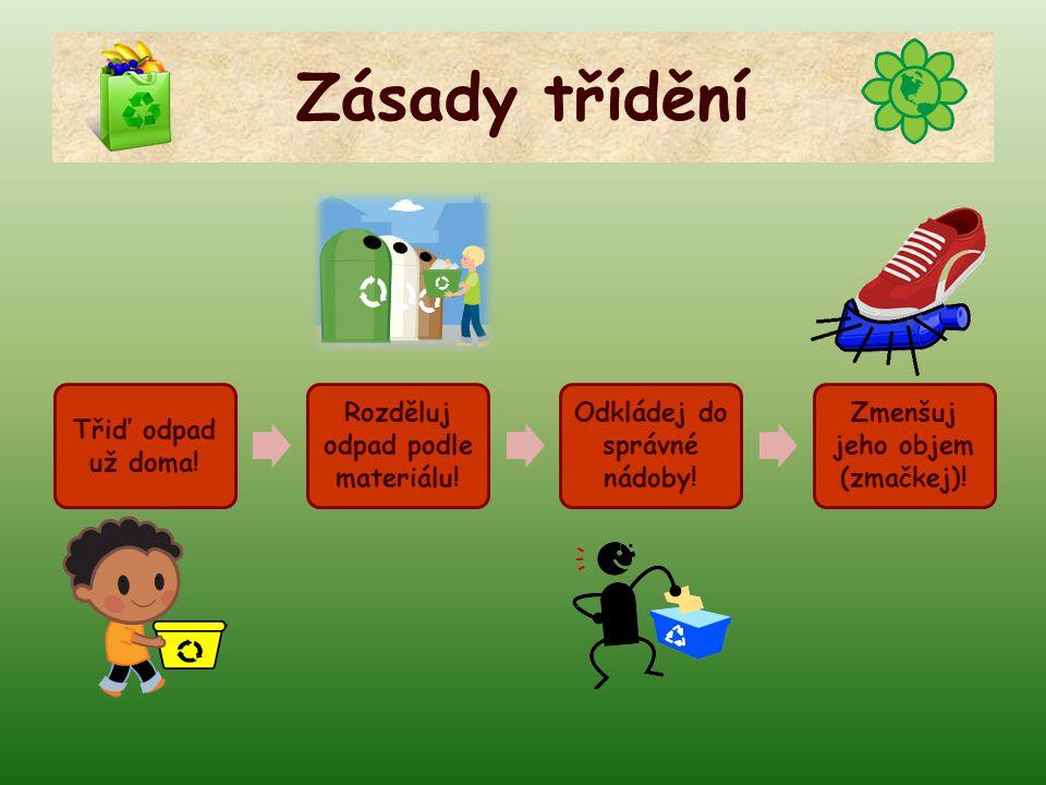Zásady třídění Třiď odpad už doma! Rozděluj odpad podle materiálu!