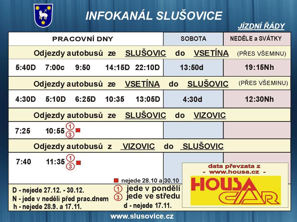 JÍZDNÍ ŘÁDY www.slusovice.cz