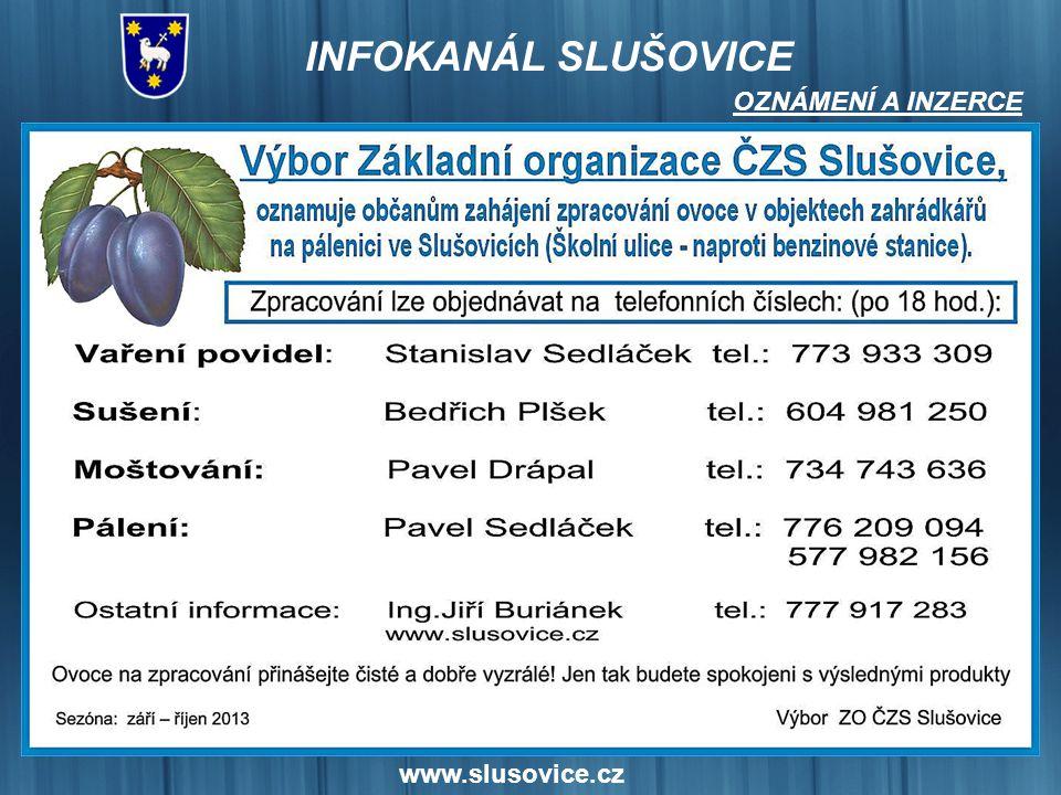 OZNÁMENÍ A INZERCE www.slusovice.cz 15