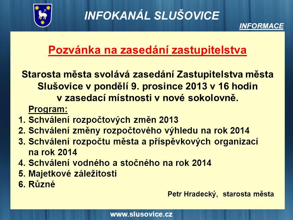 Pozvánka na zasedání zastupitelstva Petr Hradecký, starosta města