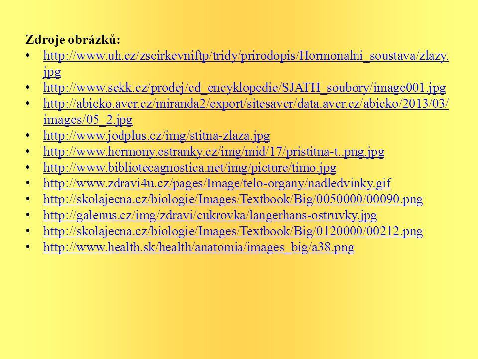 Zdroje obrázků: http://www.uh.cz/zscirkevniftp/tridy/prirodopis/Hormonalni_soustava/zlazy.jpg.