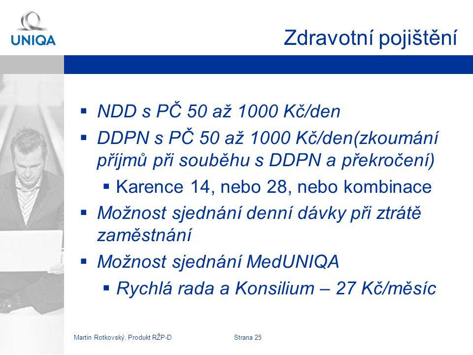 Zdravotní pojištění NDD s PČ 50 až 1000 Kč/den