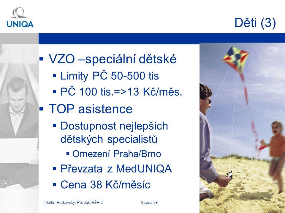 Děti (3) VZO –speciální dětské TOP asistence Limity PČ 50-500 tis