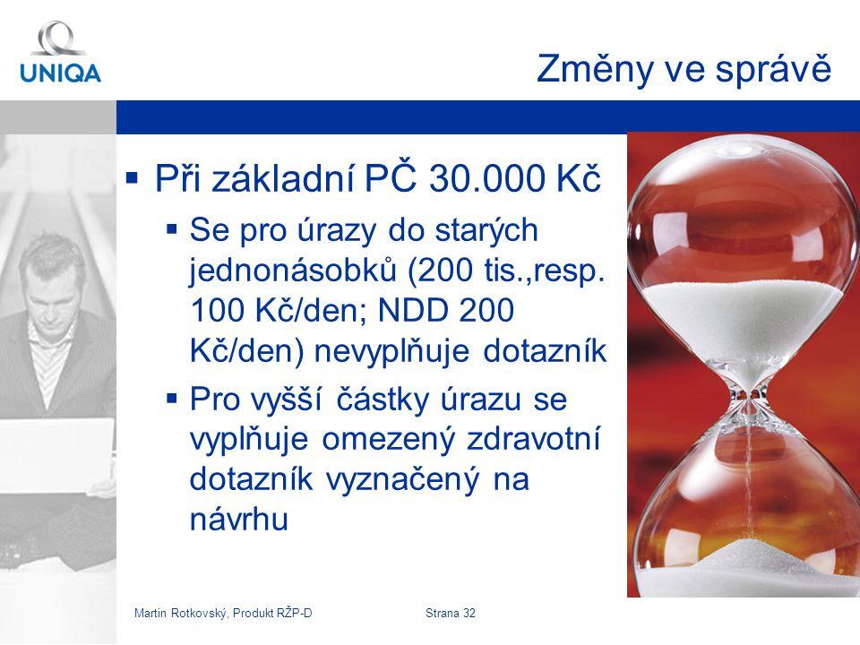 Změny ve správě Při základní PČ 30.000 Kč
