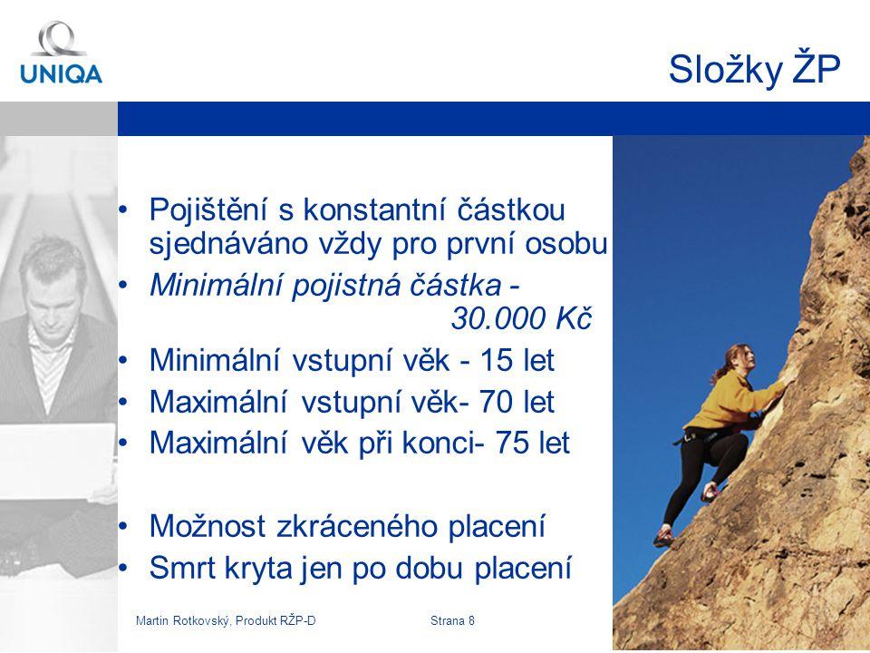 Složky ŽP Pojištění s konstantní částkou sjednáváno vždy pro první osobu. Minimální pojistná částka - 30.000 Kč.