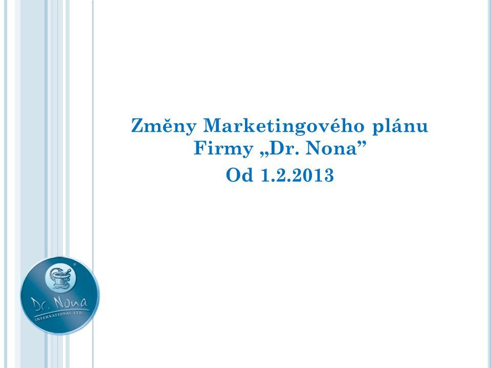 """Změny Marketingového plánu Firmy """"Dr. Nona Od 1.2.2013"""