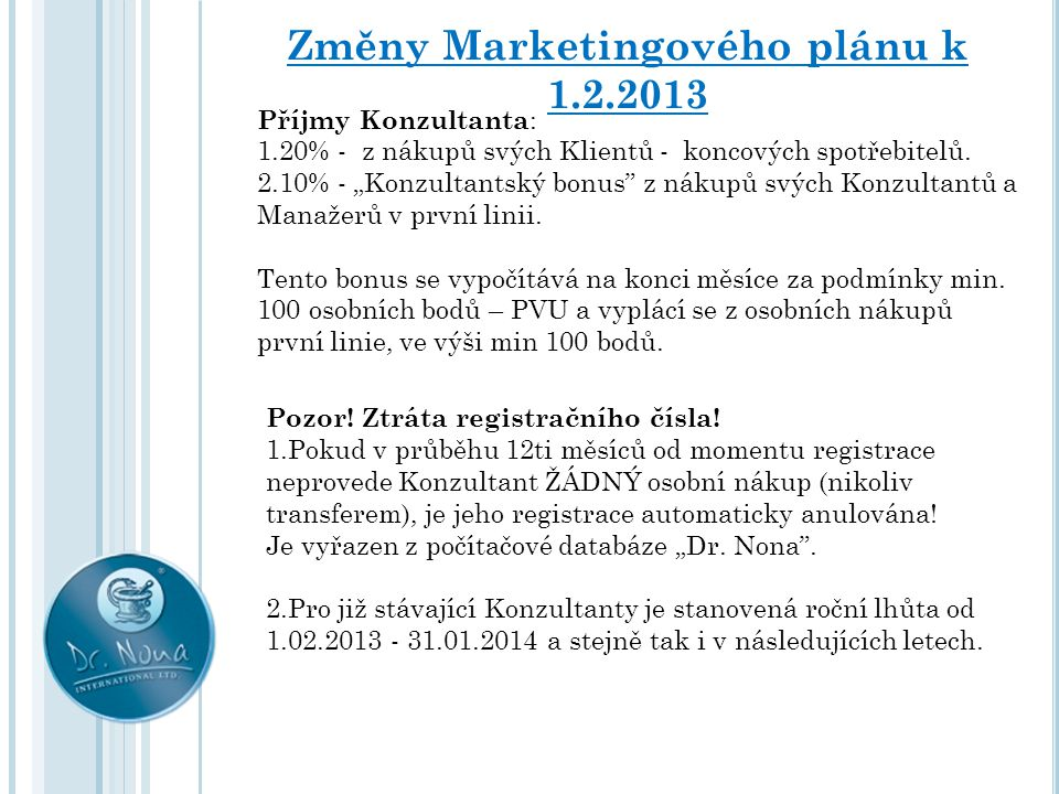 Změny Marketingového plánu k 1.2.2013