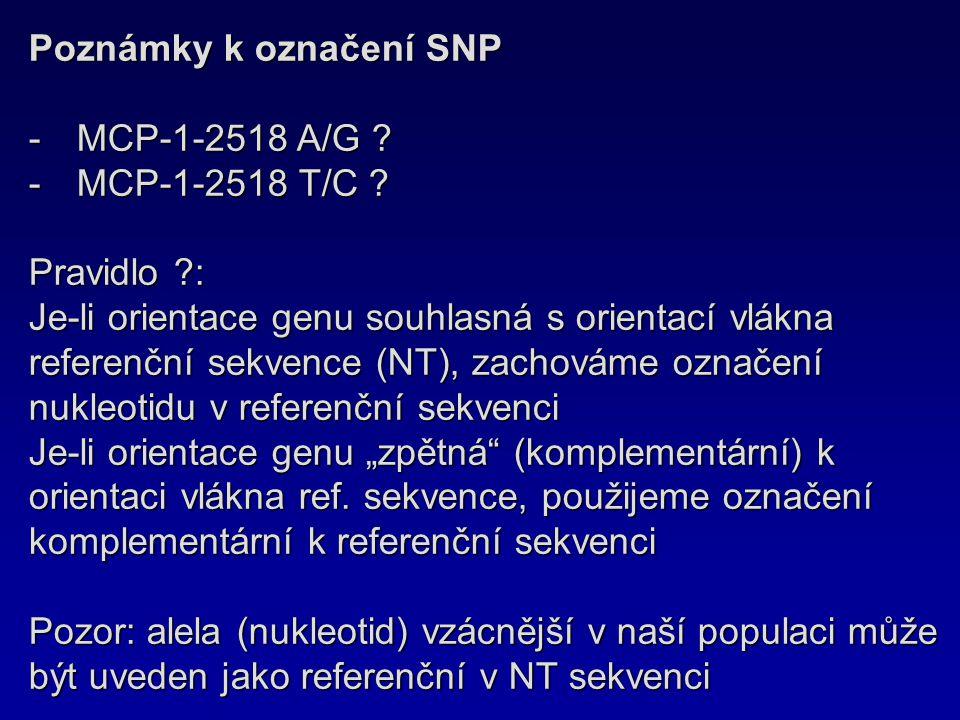 Poznámky k označení SNP