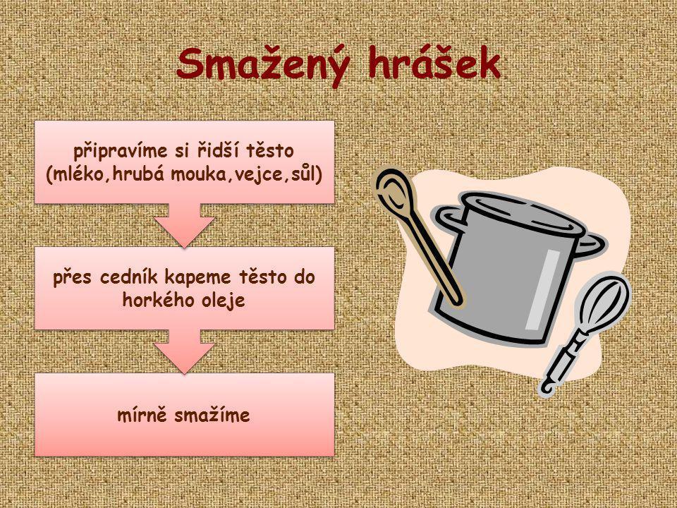 Smažený hrášek připravíme si řidší těsto (mléko,hrubá mouka,vejce,sůl)