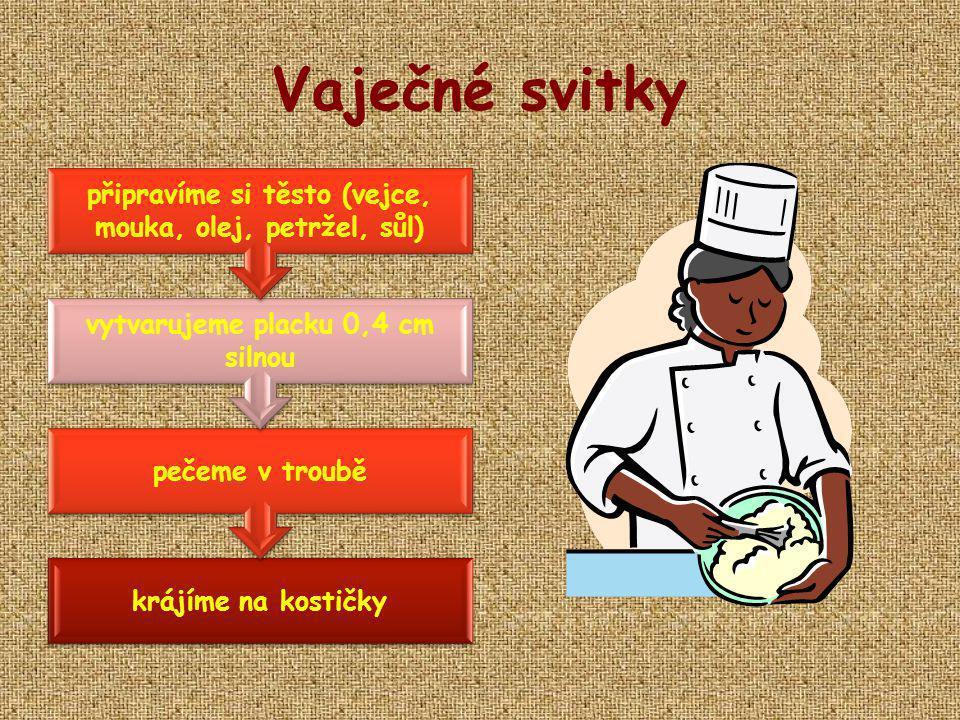 Vaječné svitky připravíme si těsto (vejce, mouka, olej, petržel, sůl)