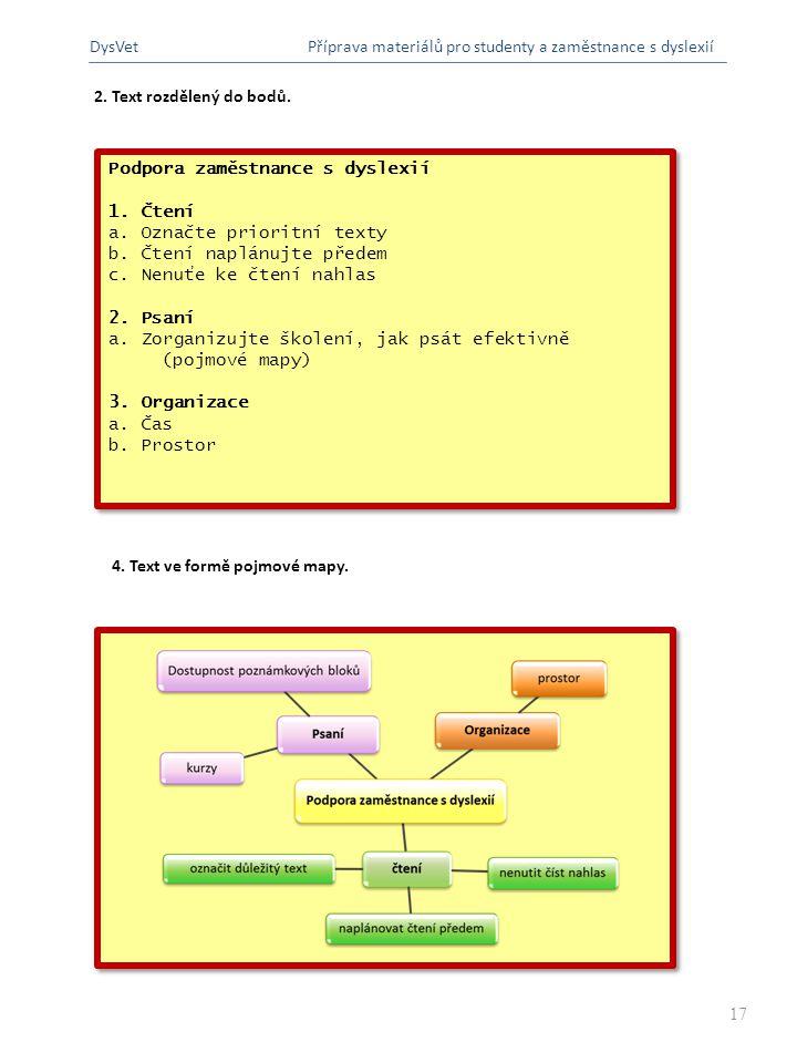 DysVet Příprava materiálů pro studenty a zaměstnance s dyslexií. 2. Text rozdělený do bodů. Podpora zaměstnance s dyslexií.