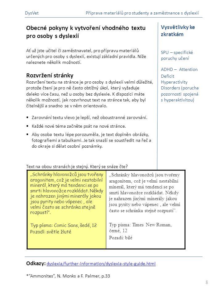 Obecné pokyny k vytvoření vhodného textu pro osoby s dyslexií