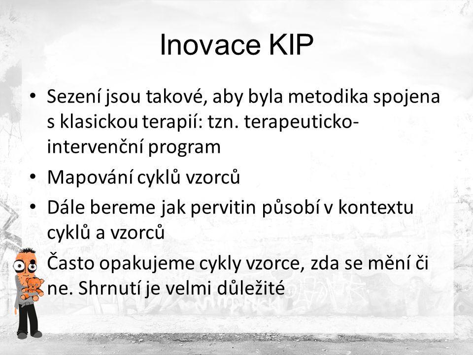 Inovace KIP Sezení jsou takové, aby byla metodika spojena s klasickou terapií: tzn. terapeuticko-intervenční program.
