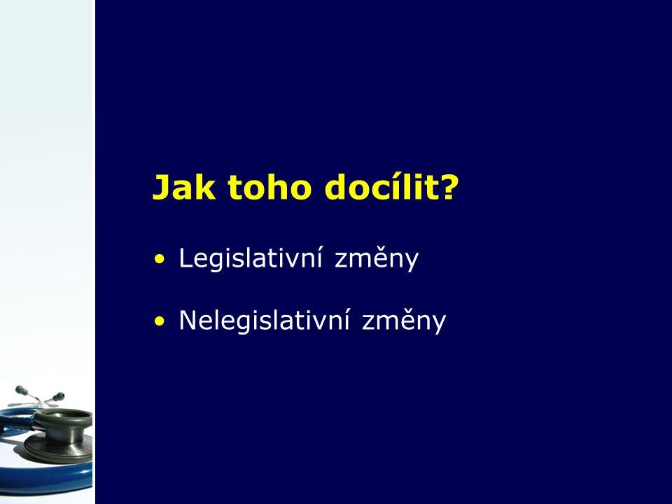 Jak toho docílit Legislativní změny Nelegislativní změny