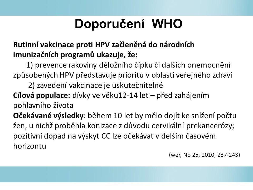 Doporučení WHO Rutinní vakcinace proti HPV začleněná do národních imunizačních programů ukazuje, že: