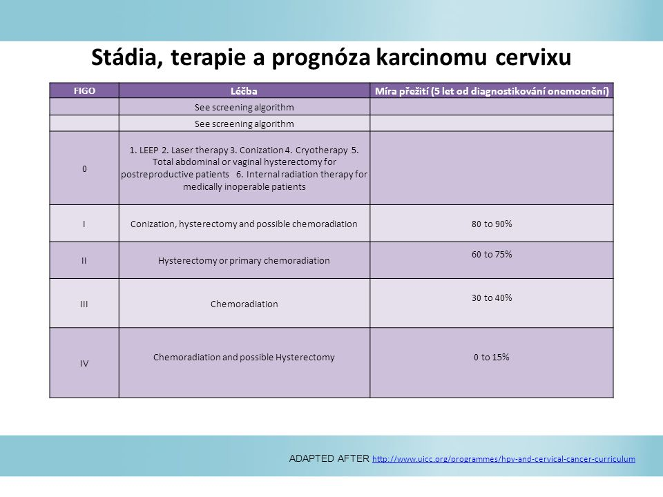 Stádia, terapie a prognóza karcinomu cervixu