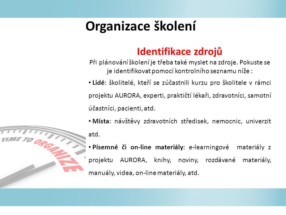 Organizace školení Identifikace zdrojů