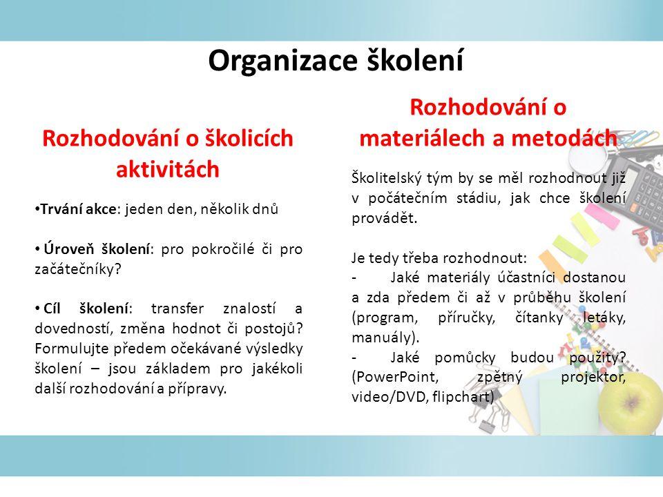 Organizace školení Rozhodování o materiálech a metodách