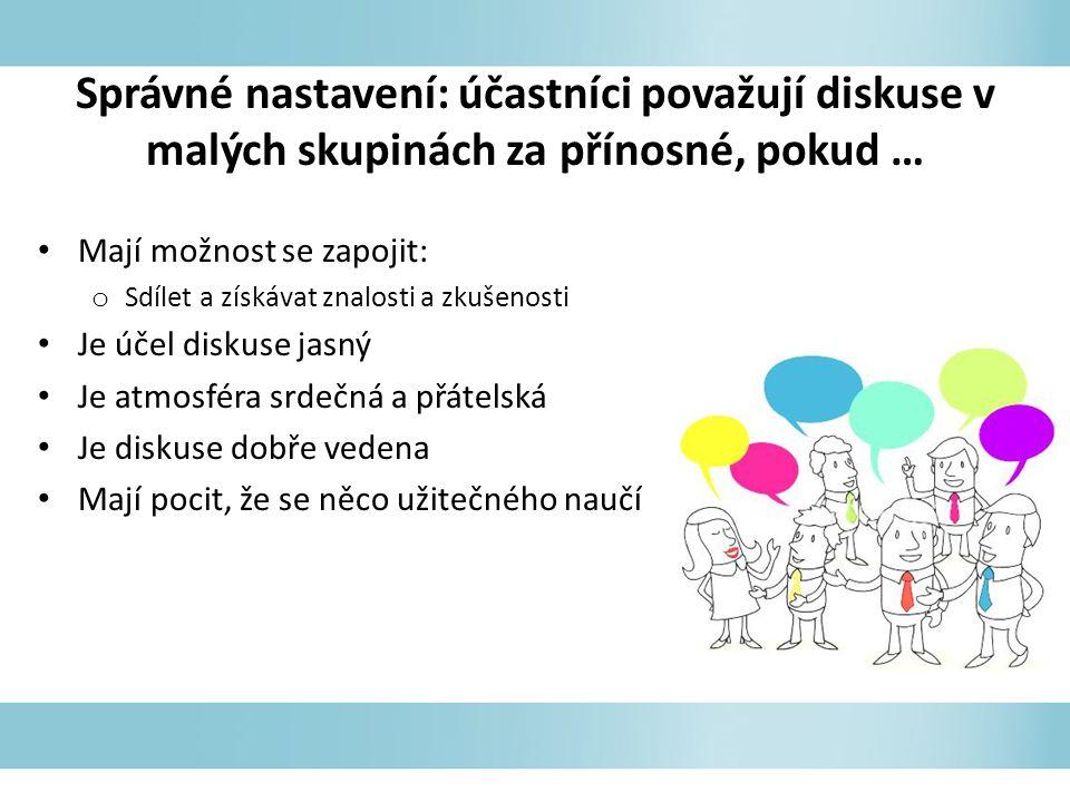 Správné nastavení: účastníci považují diskuse v malých skupinách za přínosné, pokud …