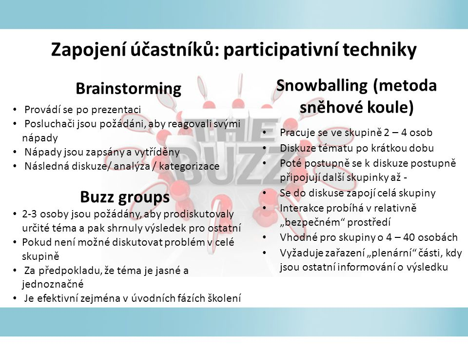 Zapojení účastníků: participativní techniky