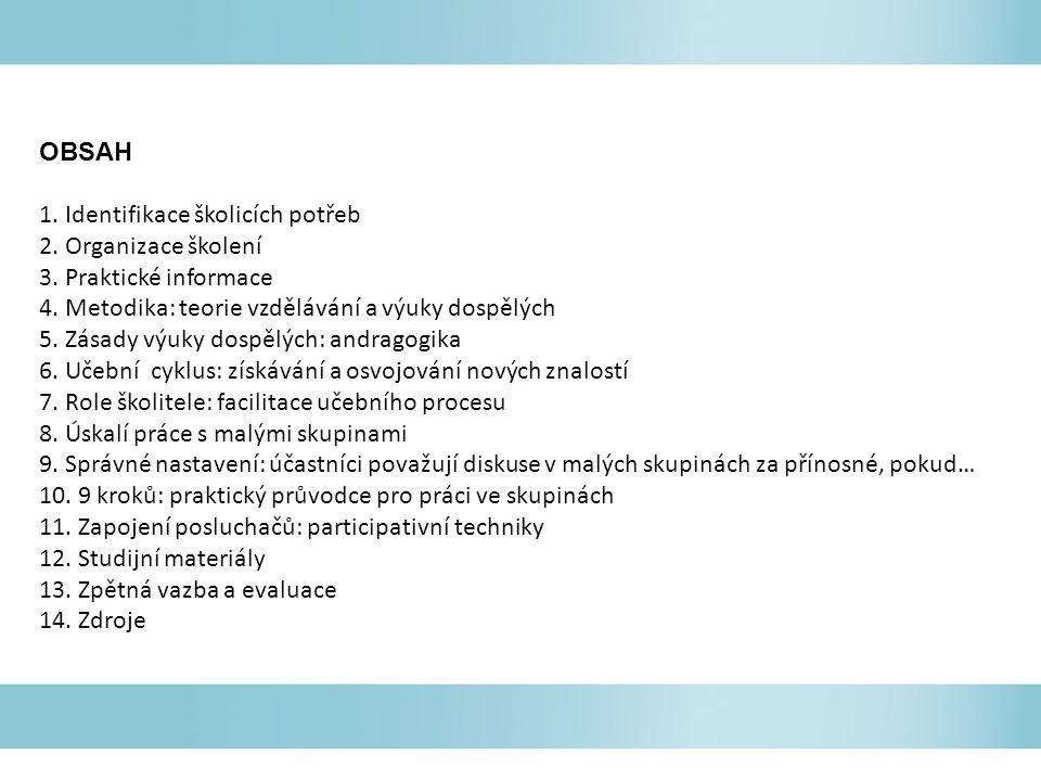 OBSAH 1. Identifikace školicích potřeb. 2. Organizace školení. 3. Praktické informace. 4. Metodika: teorie vzdělávání a výuky dospělých.