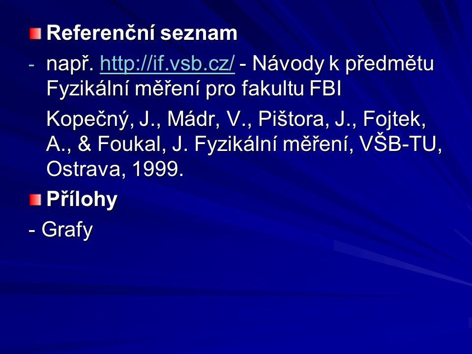 Referenční seznam např. http://if.vsb.cz/ - Návody k předmětu Fyzikální měření pro fakultu FBI.