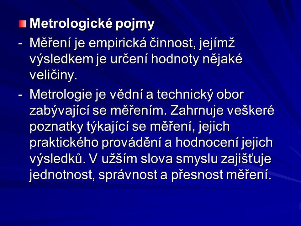 Metrologické pojmy - Měření je empirická činnost, jejímž výsledkem je určení hodnoty nějaké veličiny.