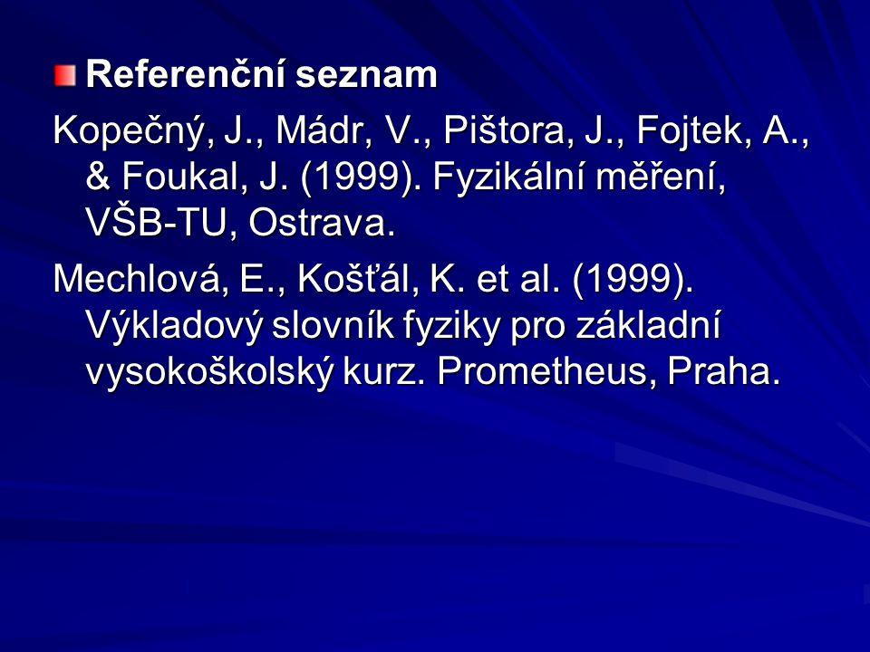 Referenční seznam Kopečný, J., Mádr, V., Pištora, J., Fojtek, A., & Foukal, J. (1999). Fyzikální měření, VŠB-TU, Ostrava.