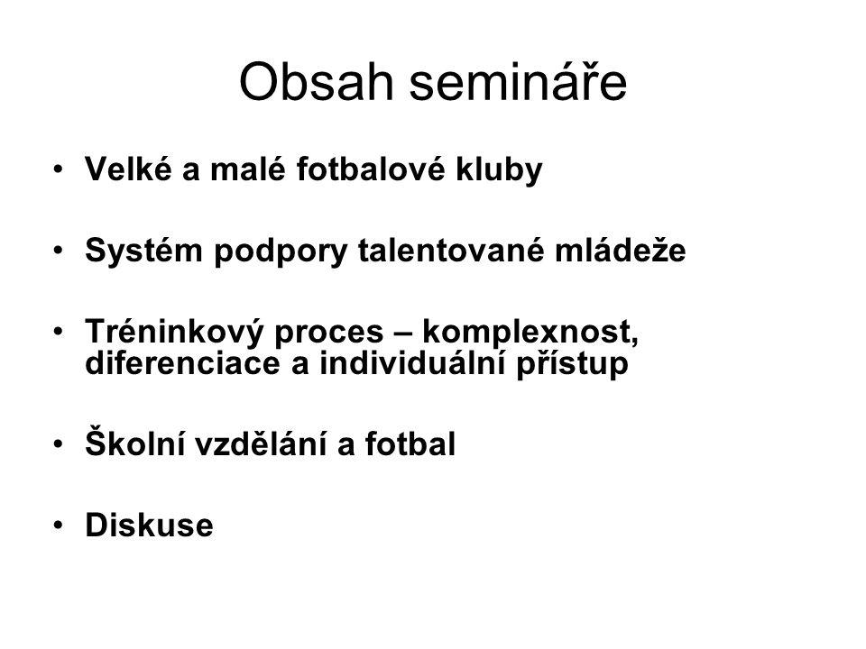 Obsah semináře Velké a malé fotbalové kluby