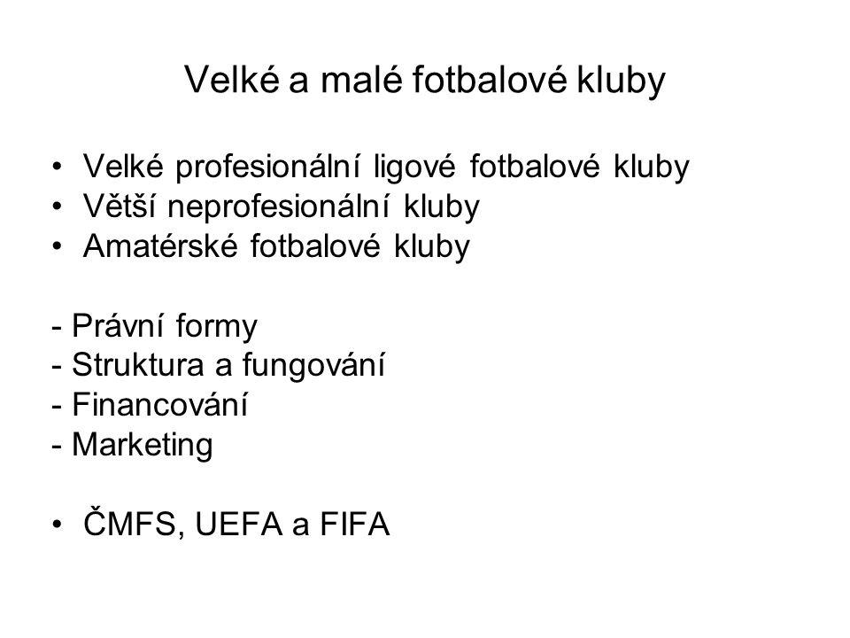 Velké a malé fotbalové kluby