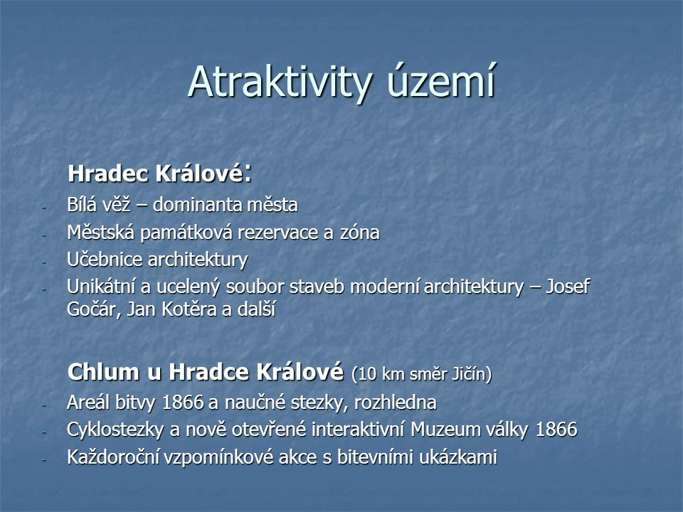 Atraktivity území Hradec Králové: