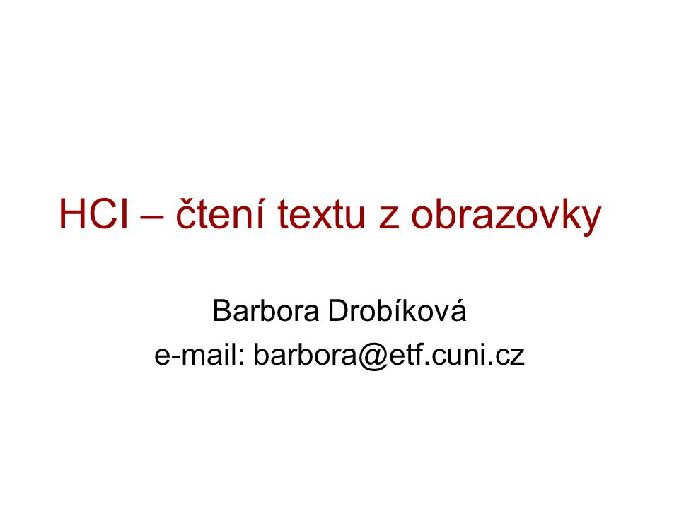 HCI – čtení textu z obrazovky